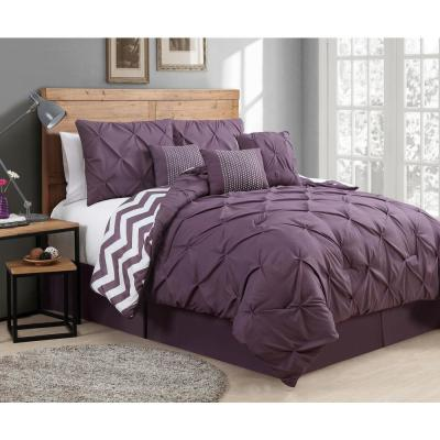 Venice Pinch Pleat 7-Piece Plum Queen Comforter Set