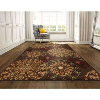 Ottohome Collection Contemporary Medallion Design Brown 8 ft. x 10 ft. Area Rug
