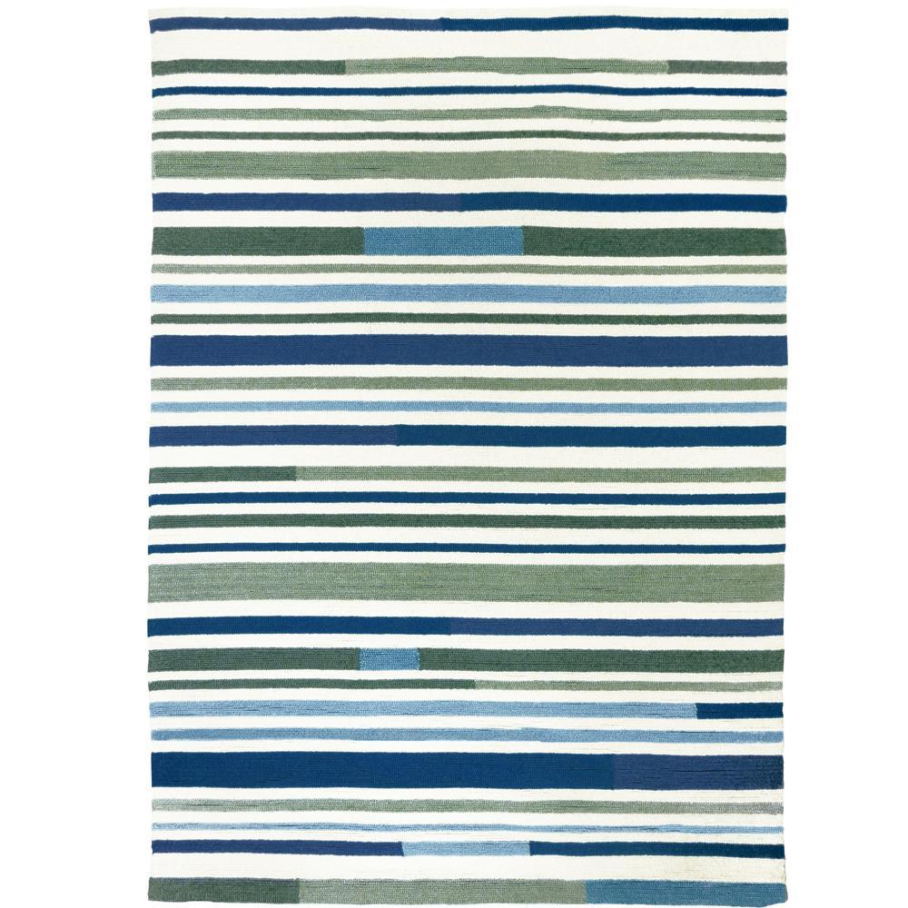 Sea Breeze Stripes Teal 3 ft. x 5 ft. Indoor/Outdoor Area Rug