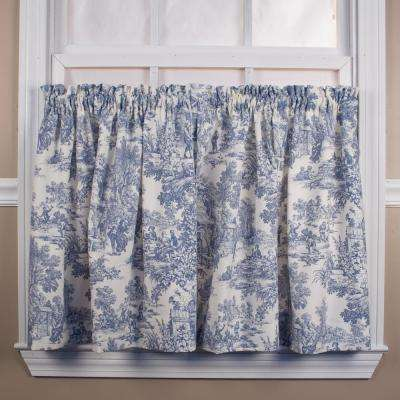 Victoria Park Toile 68 in. W x 24 in. L Blue CottonTailored Tier Pair Curtain