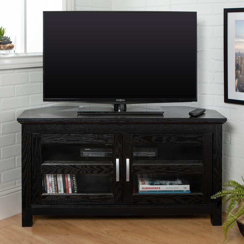 "44"" Transitional Wood Corner TV Stand Entertainment Center - Black"