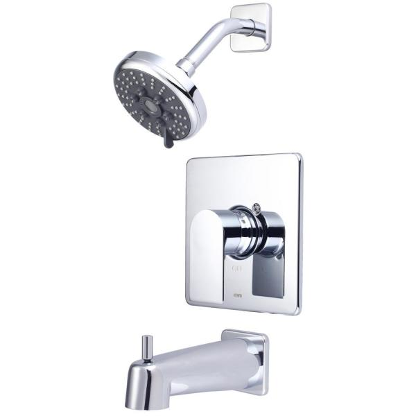 i4 1-Handle Wall Mount Tub and Shower Faucet Trim Kit in Polished Chrome with Rain Showerhead (Valve not Included)