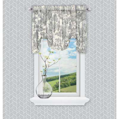 Victoria Park Toile 24 in. L Cotton Tie-Up Valance in Grey