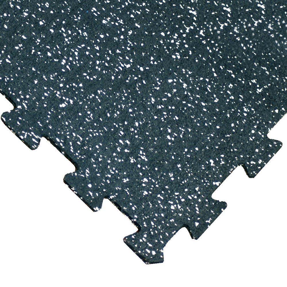 """""""ReUz"""" Rubber Tiles 1.6 ft. W x 1.6 ft. L White Speckle Rubber Flooring Tiles (44 sq. ft.) (16-Pack)"""