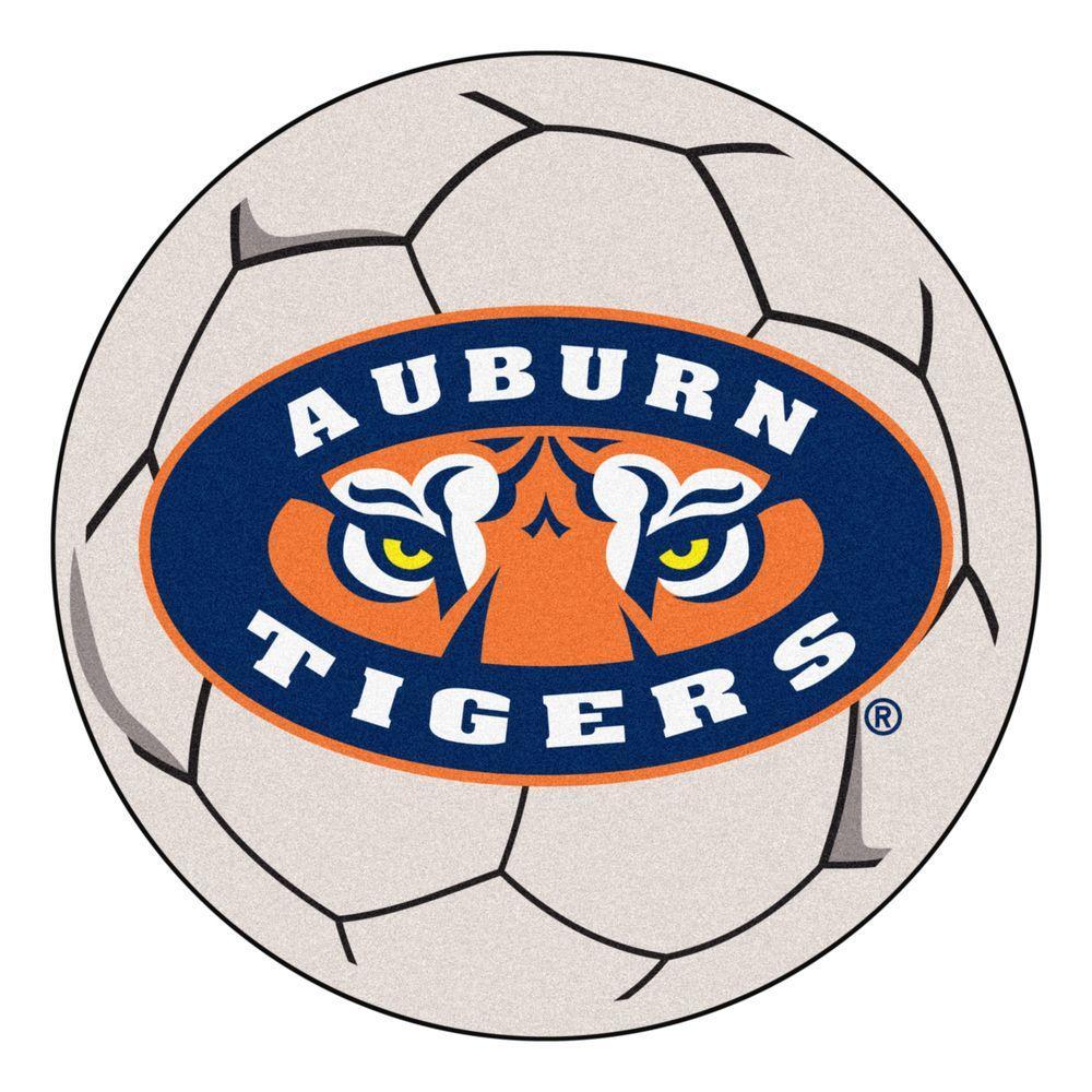 NCAA Auburn University Tigers Logo Cream 2 ft. x 2 ft. Round Area Rug