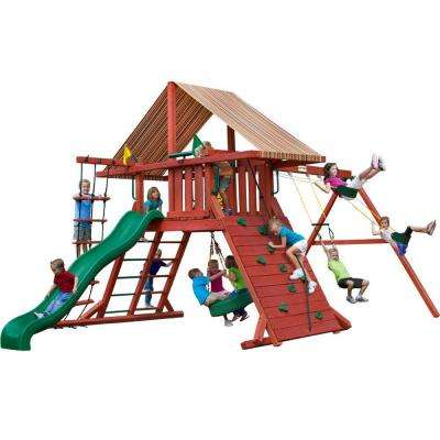Sun Climber I Wooden Swing Set with Sunbrella® Canvas Brannon Redwood Canopy and Tire Swing
