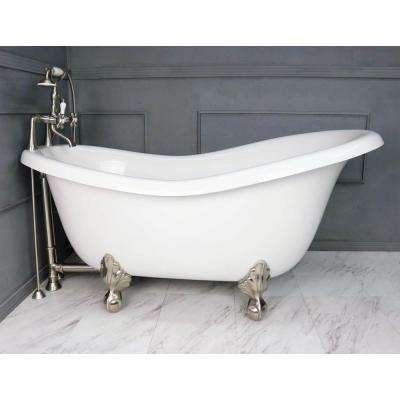 60 in. AcraStone Acrylic Slipper Clawfoot Non-Whirlpool Bathtubin White with Large Ball, Clawfeet Faucet in Satin Nickel