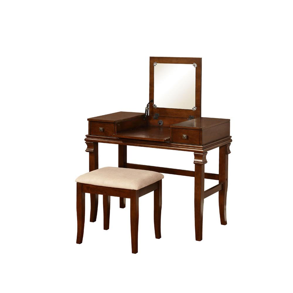 Charmant Linon Home Decor Angela 2 Piece Walnut Vanity Set
