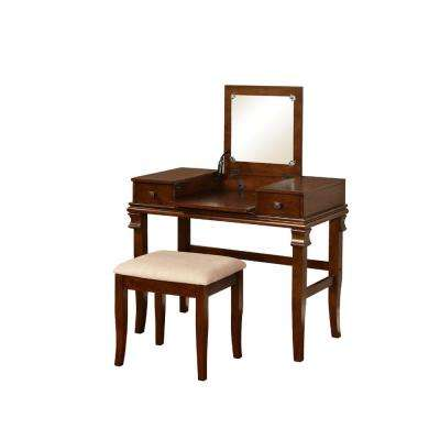Angela 2-Piece Walnut Vanity Set