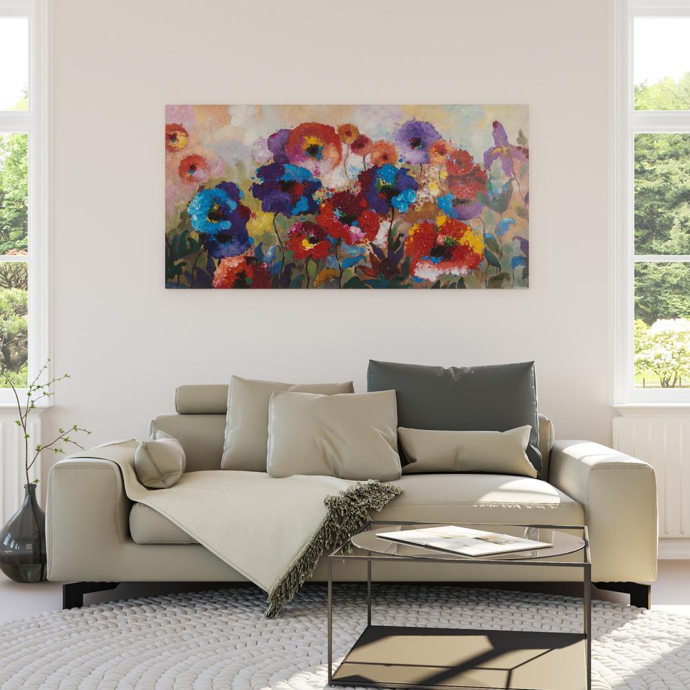 "31.49 in. x 63 in. ""Flower Garden"" Hand Painted Contemporary Artwork"