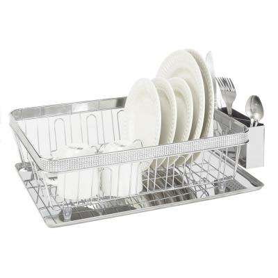 Chrome Pave Diamond Design Drying Rack with Tray