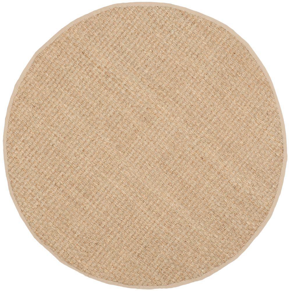 Natural Fiber Tan/Beige 8 ft. x 8 ft. Round Area Rug