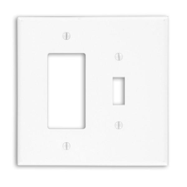 White 3-Gang 1-Toggle/1-Duplex Wall Plate (1-Pack)