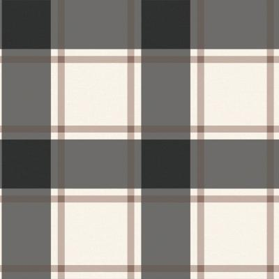 Plaid Black and Ivory Self-Adhesive, Removable Wallpaper