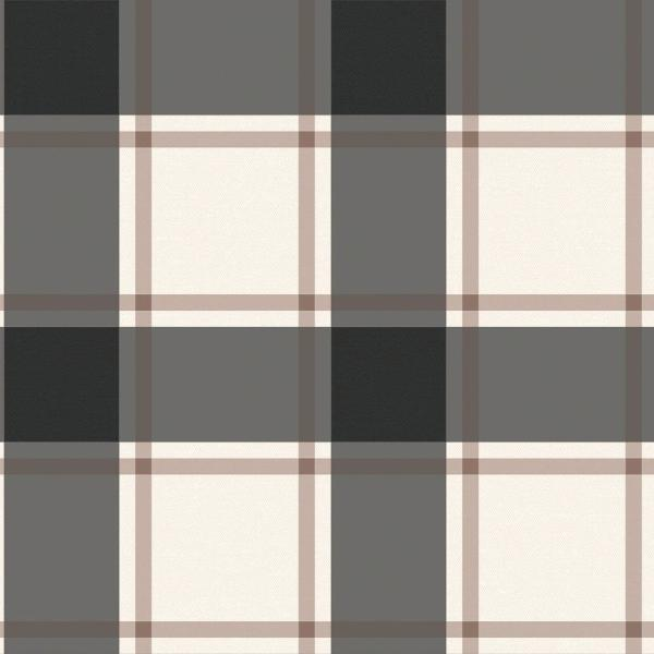 Tempaper Plaid Black and Ivory Self-Adhesive, Removable Wallpaper PL560