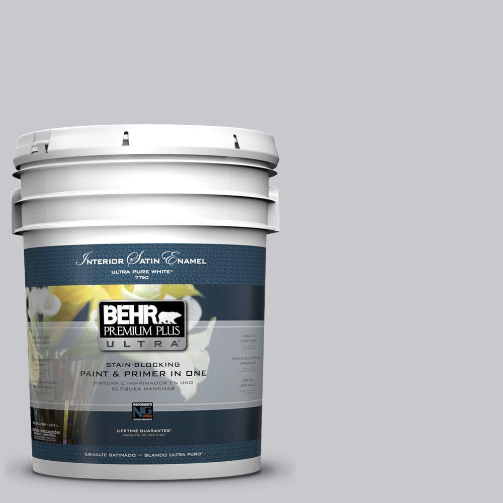 BEHR Premium Plus Ultra 5-gal. #ECC-62-1 Urban Gray Satin Enamel Interior Paint
