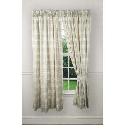 90 in. W x 63 in. L Bartlett Natural Cotton Tailored Pair Curtains with Ties