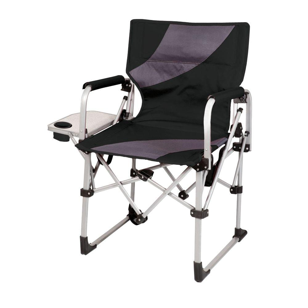 Black and Grey Meta Portable Folding All-in-One Patio Chair
