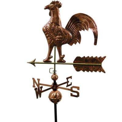 22 In. W Rooster Copper Weathervane - Polished