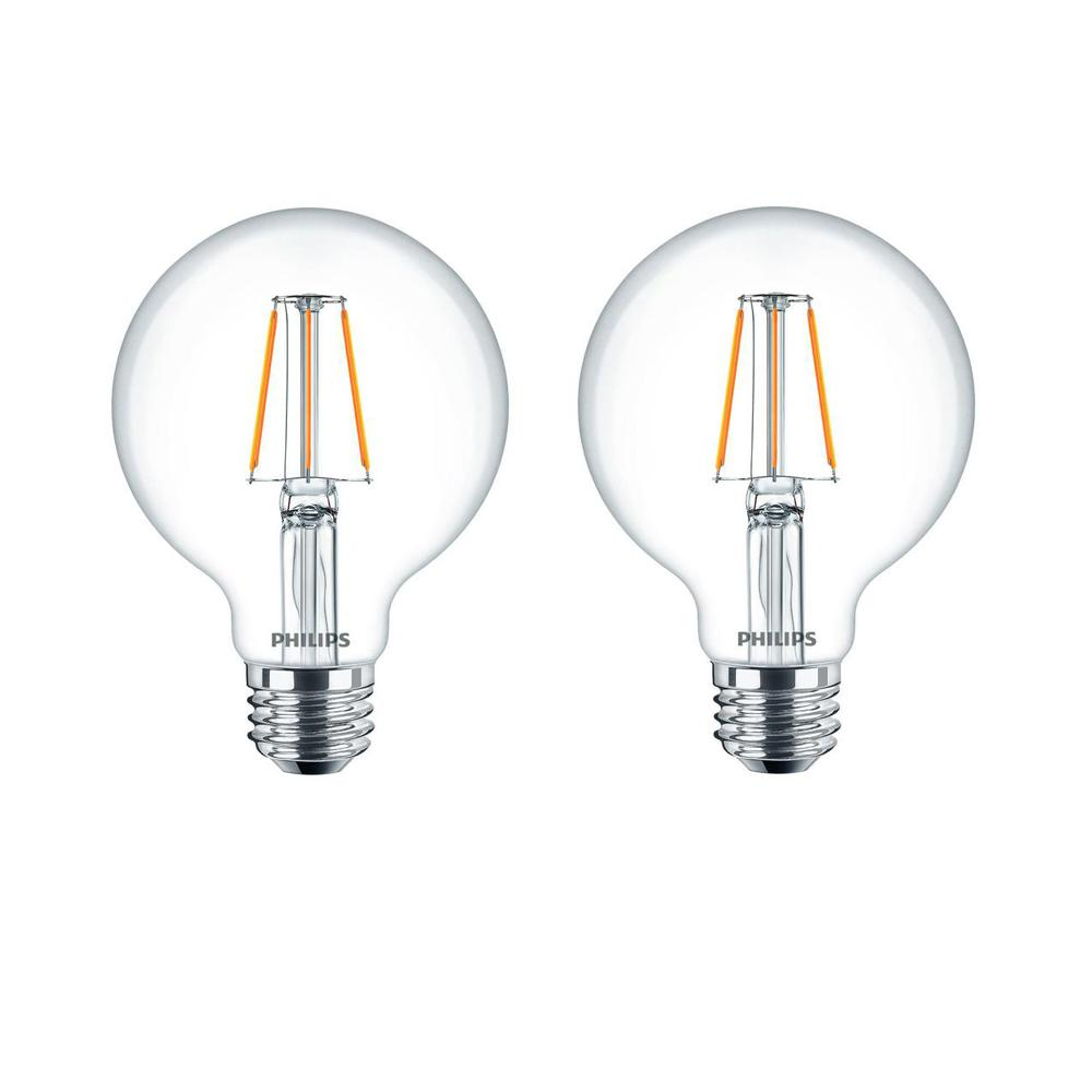Philips 60 watt equivalent g25 dimmable led indoor outdoor light bulb glass clear with warm glow effect 2700k 2 pack