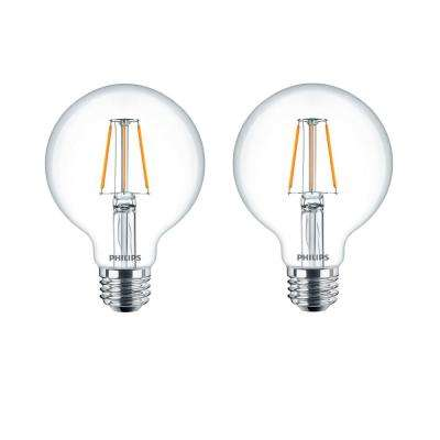 60-Watt Equivalent G25 Dimmable LED Indoor/Outdoor Light Bulb Glass Clear with Warm Glow Effect (2-Pack)