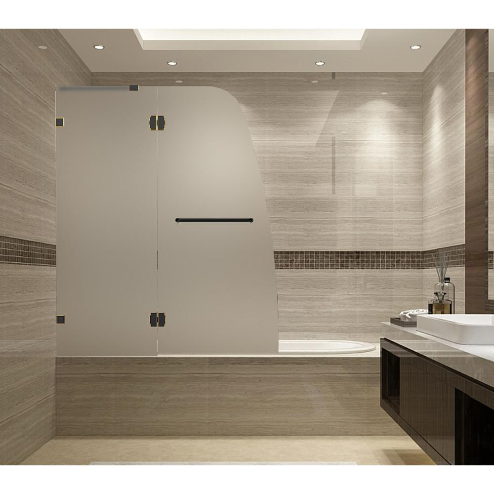 Soleil 48 in. x 58 in. Completely Frameless Hinged Tub Door