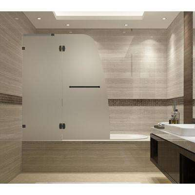 Soleil 48 in. x 58 in. Completely Frameless Hinged Tub Door with Frosted Glass in Oil Rubbed Bronze