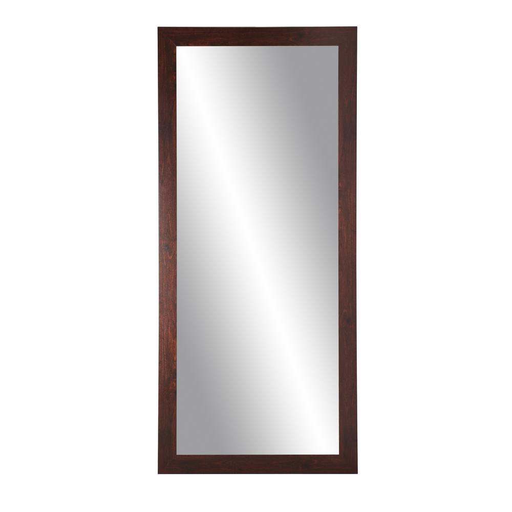 Medium Dark Walnut Composite Hooks Modern Mirror (32 in. H X 65.5 in. W)