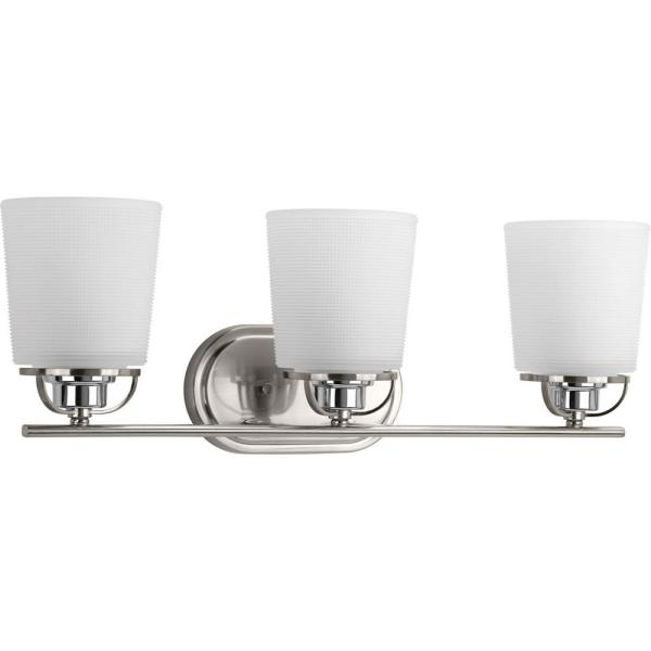 West Village Collection 3-Light Brushed Nickel Bathroom Vanity Light with Glass Shades