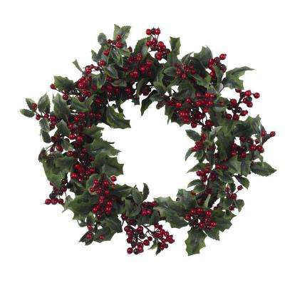 24 in. Artificial Wreath with Holly Berries