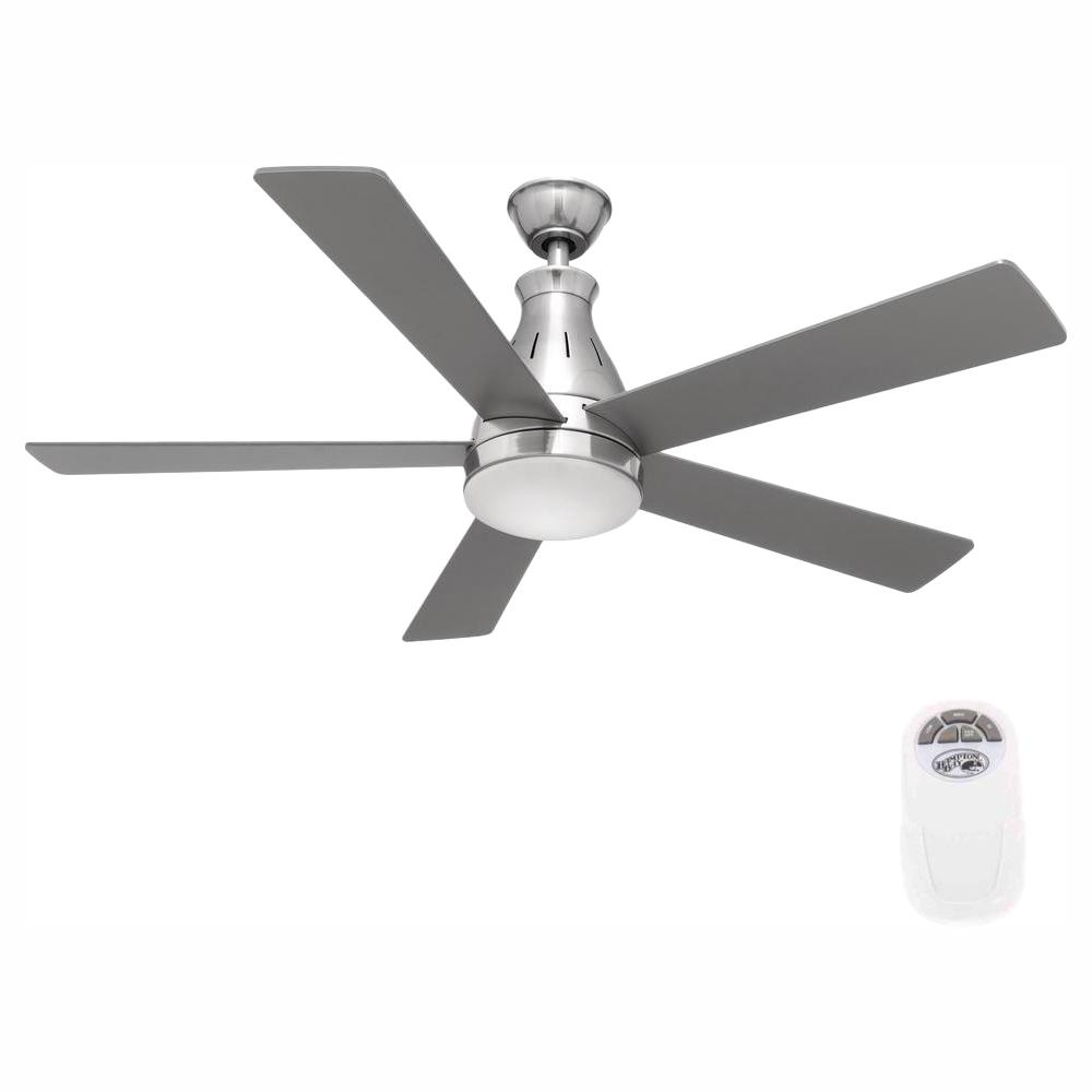 Hampton Bay Cobram 48 in. Integrated LED Indoor Nickel Ceiling Fan with Light Kit and Remote Control