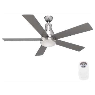 Cobram 48 in. Integrated LED Indoor Nickel Ceiling Fan with Light Kit and Remote Control
