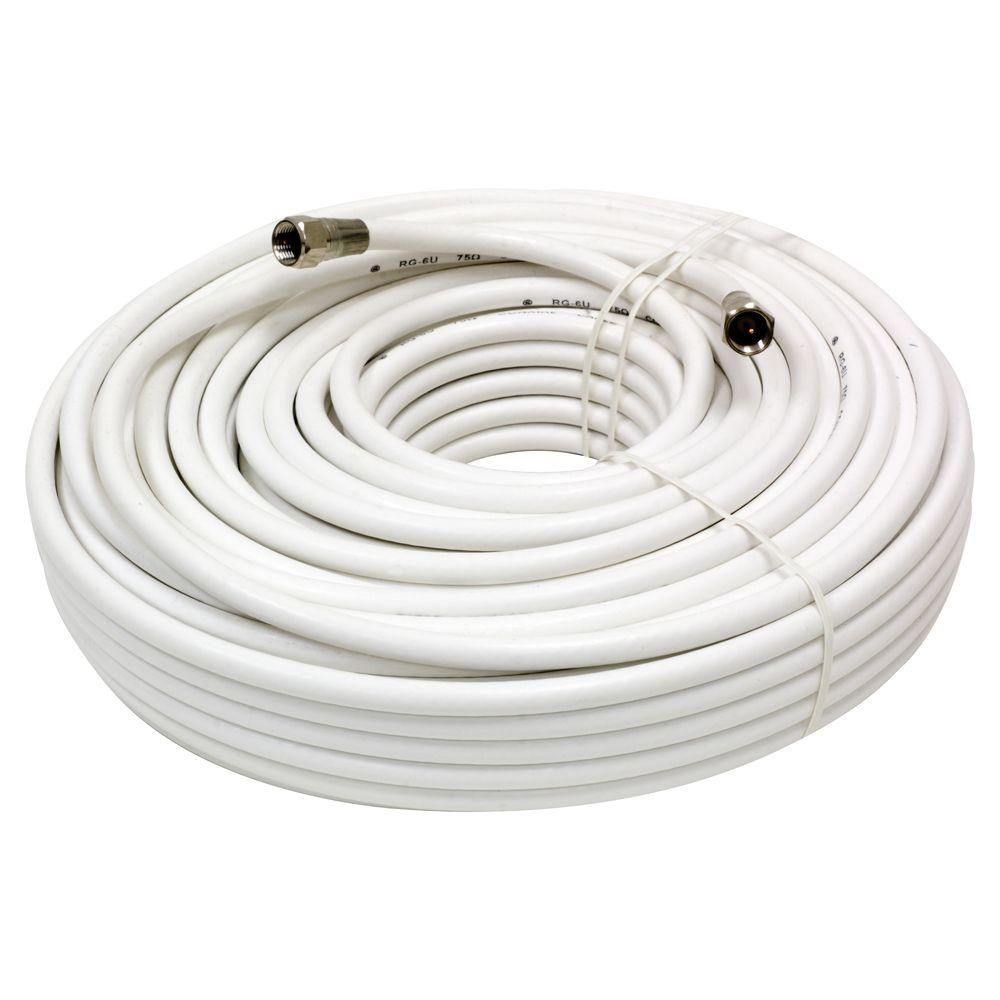 GE 100 ft. RG-6 Coaxial Cable - White