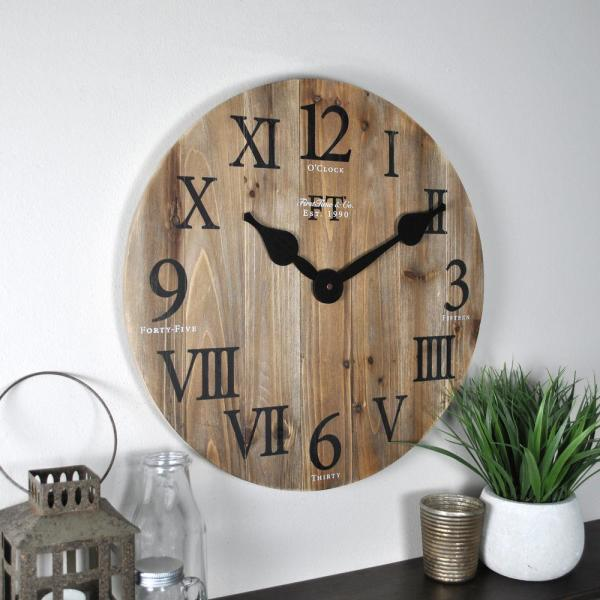 Wooden Oversized Wall Clocks With Wooden Table In Living Room Ideas 300×300.jpg