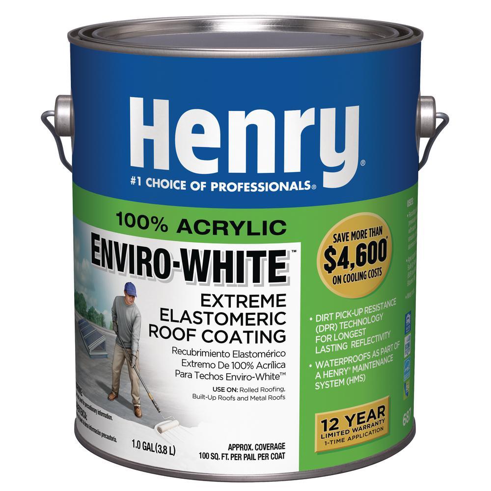 Henry 0 90 Gal 687 100 Acrylic Enviro White Extreme Elastomeric Roof Coating He687146 The Home Depot