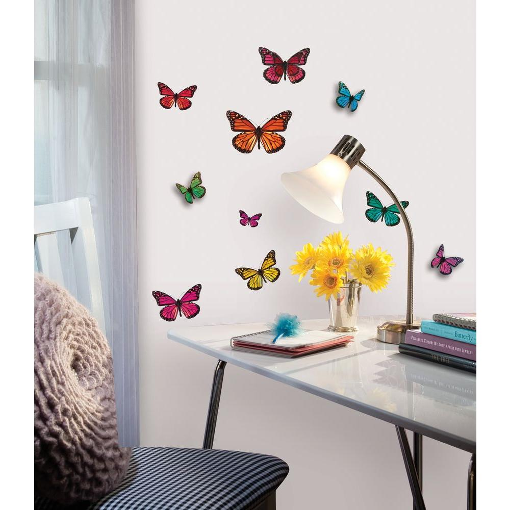 3d butterfly wall stckers wall decors wall art wall.htm roommates butterfly 3 d wall decal acc0003b3d the home depot  roommates butterfly 3 d wall decal