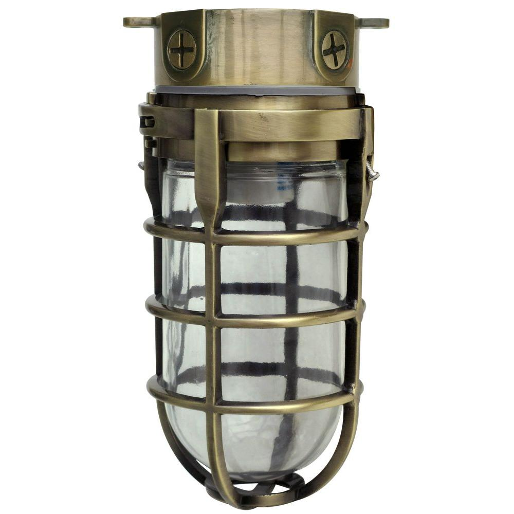Designers edge industrial 1 light antique brass outdoor for Vintage exterior light fixtures