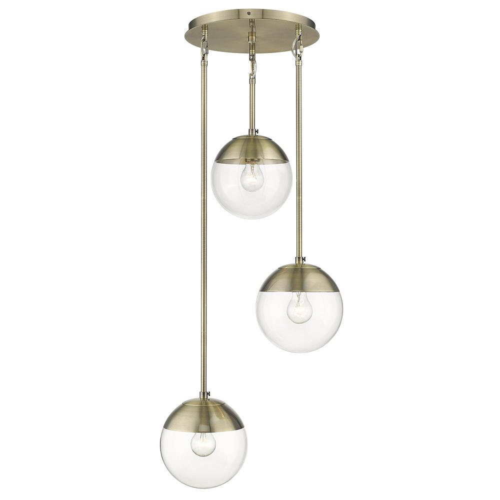 Golden Lighting Dixon 3-Light Pendant in Aged Brass with Clear Glass and Aged Brass Cap