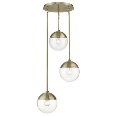 Dixon 3-Light Pendant in Aged Brass with Clear Glass and Aged Brass Cap