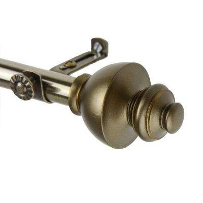 120 in. - 170 in. Telescoping Single Curtain Rod Kit in Antique Brass with Dynasty Finial