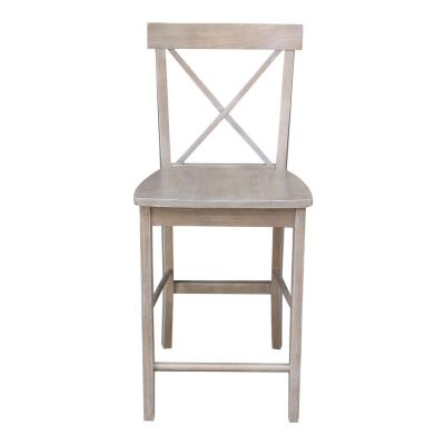 X Back 24 in. H Weathered Taupe Gray Counter Stool