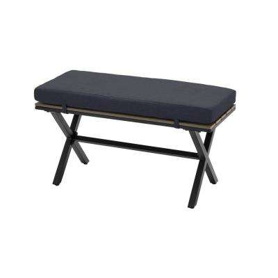 Laguna Point Brown Steel Wood Top Outdoor Patio Bench with CushionGuard Midnight Navy Blue Cushions