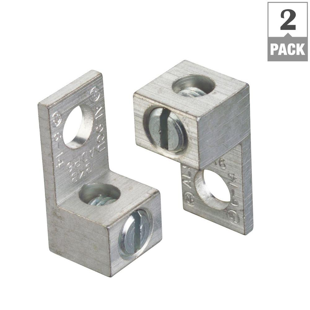 6 Str To 14 Awg Dual Rated Type Adr Alcul Single Conductor Mechanical Wire Connector With 1 Hole Mount 2 Pack Adr6 B2 5 The Home Depot