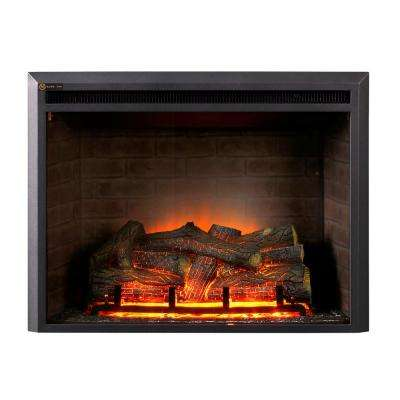 32 in. LED Electric Fireplace Insert in Black Matt
