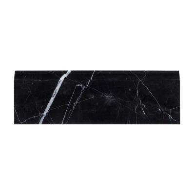 Nero Marquina 4 in. x 12 in. Polished Marble Base Trim