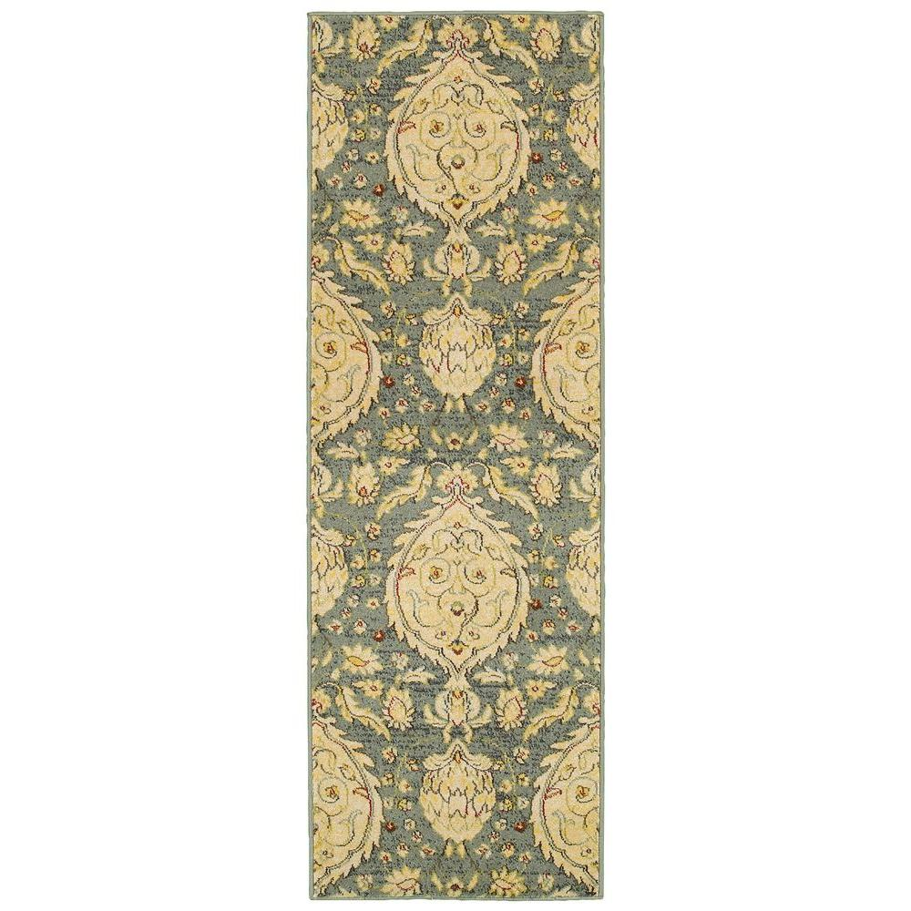 LR Resources Antigua Blue 2 ft. 6 in. x 7 ft. 9 in. Plush Indoor Rug Runner