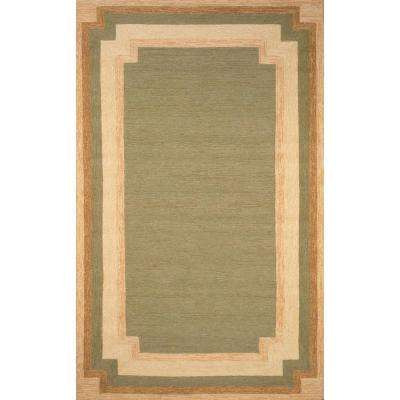 Sinclair Cut Away Border Green 5 ft. x 5 ft. Indoor/Outdoor Area Rug