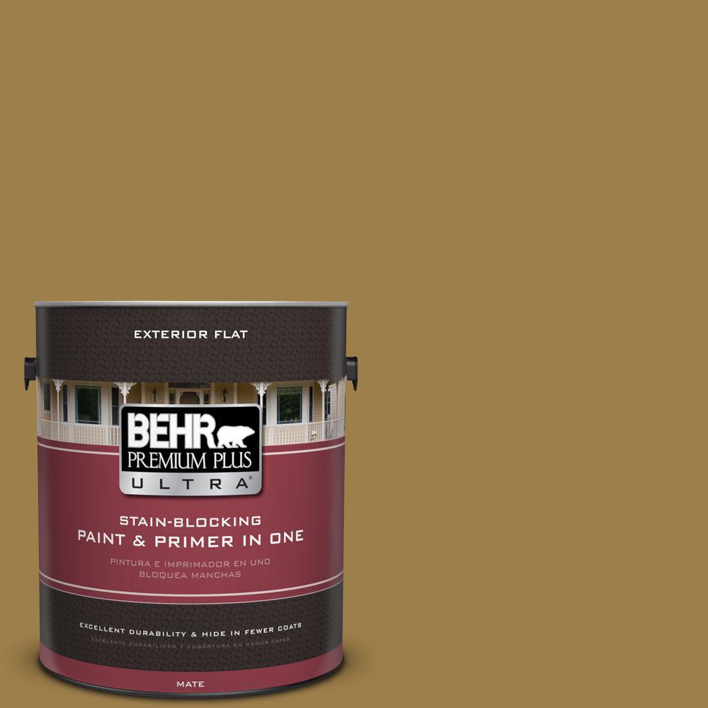 BEHR Premium Plus Ultra 1-gal. #S310-6 Gold Ink Flat Exterior Paint