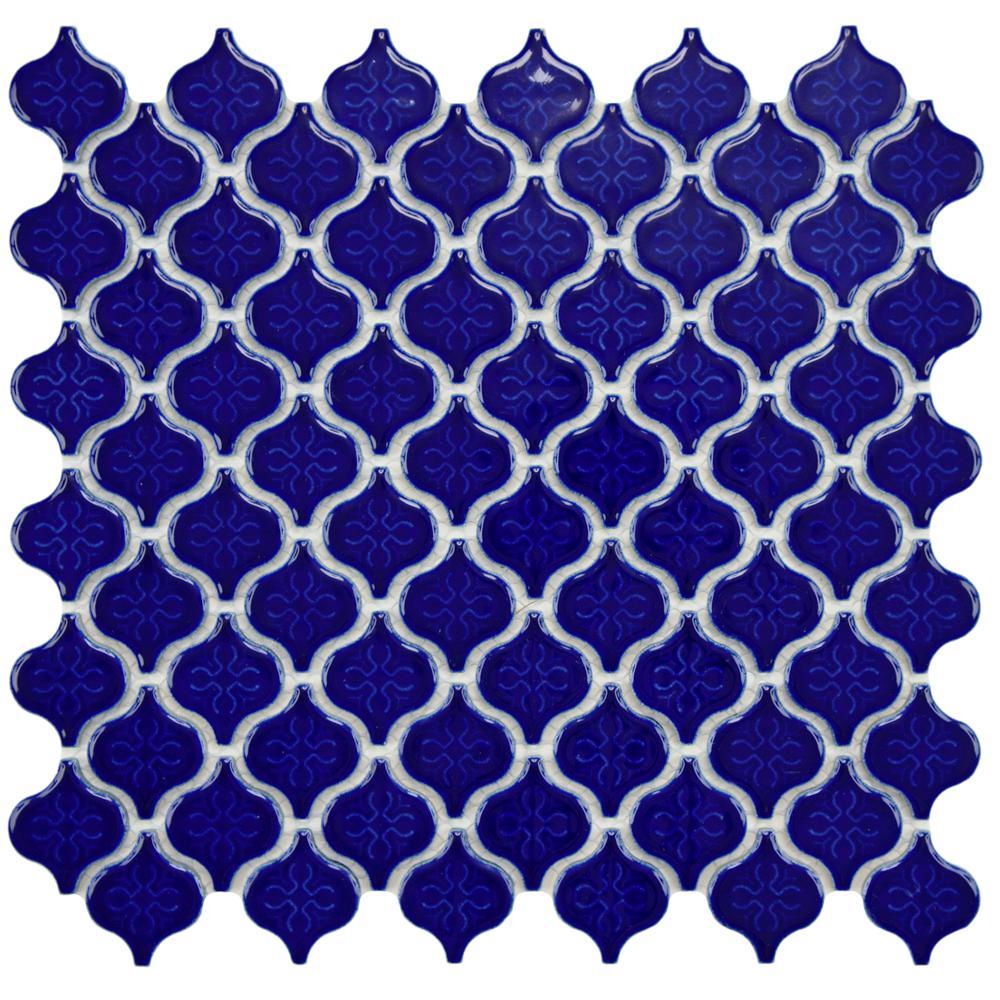 Merola Tile Lantern Mini Glossy Cobalt 10-3/4 in. x 11-1/4 in. x 5 mm Porcelain Mosaic Tile