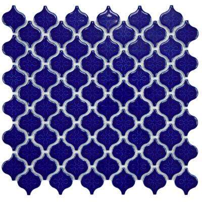 Lantern Mini Glossy Cobalt 10-3/4 in. x 11-1/4 in. x 5 mm Porcelain Mosaic Tile
